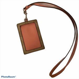Coach Pink/Tan Id or Badge Lanyard Holder